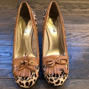 Sperry top sider leopard wedge